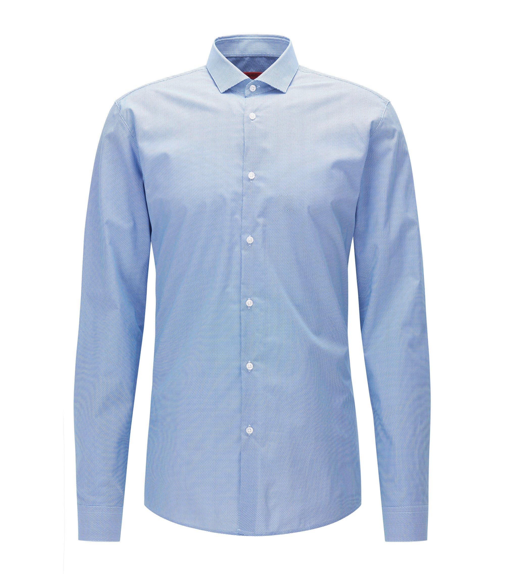 Fein gemustertes Slim-Fit Hemd aus Baumwoll-Popeline, Hellblau