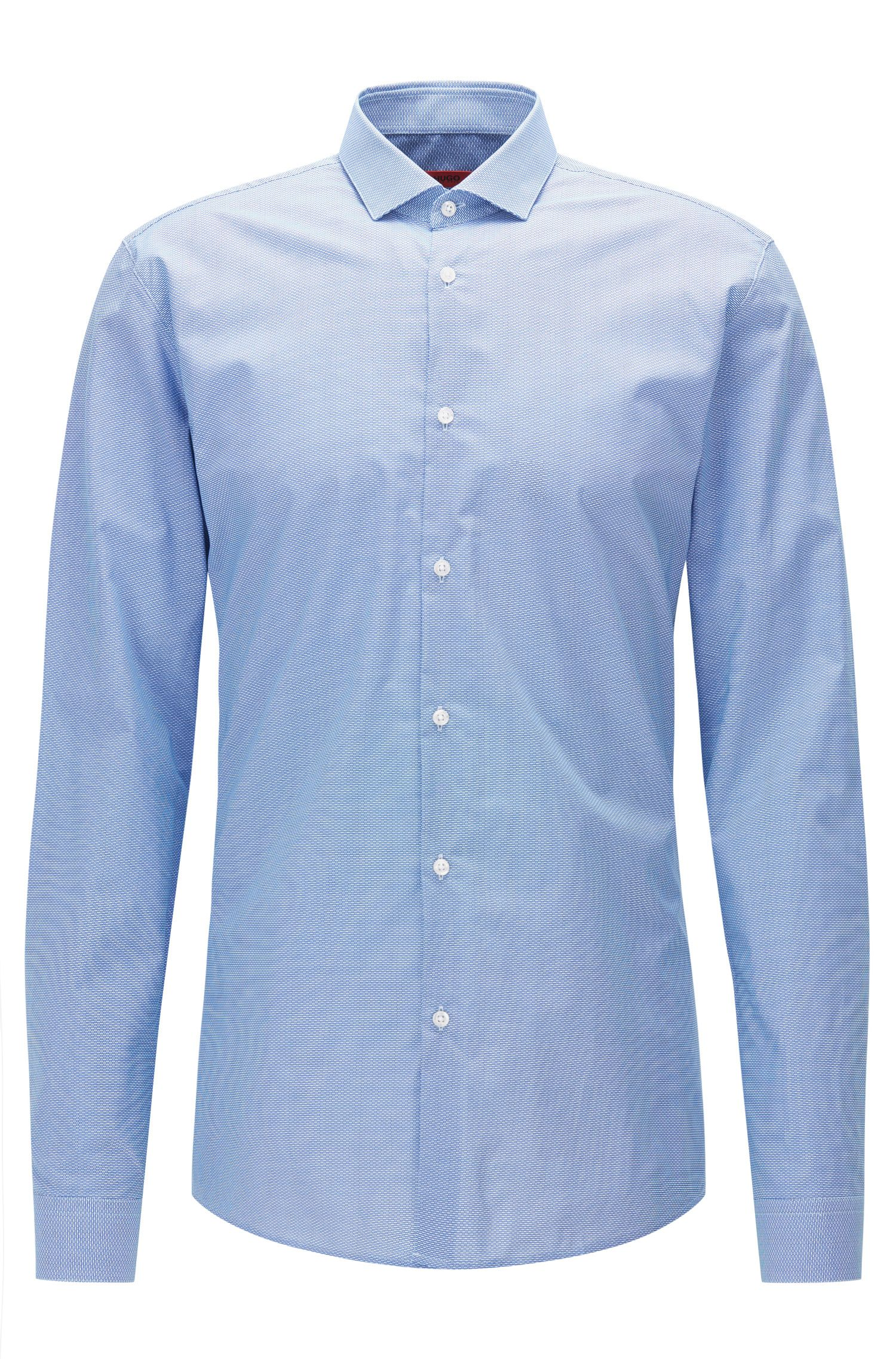 Slim-fit shirt in micro patterned cotton poplin