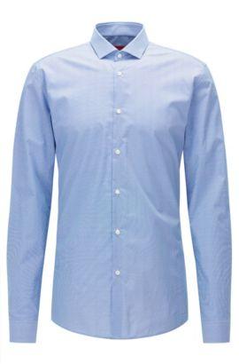 Camisa slim fit en popelín de algodón con microestampado, Celeste