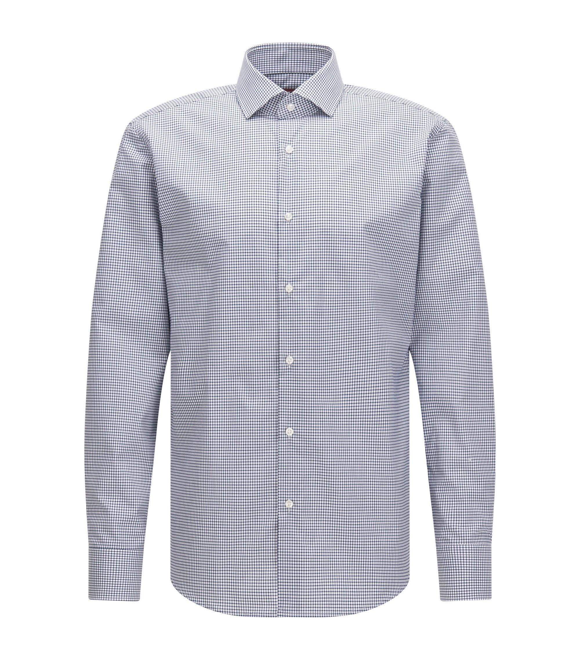 Regular-Fit Hemd aus Baumwolle mit Vichy-Karo, Dunkelblau