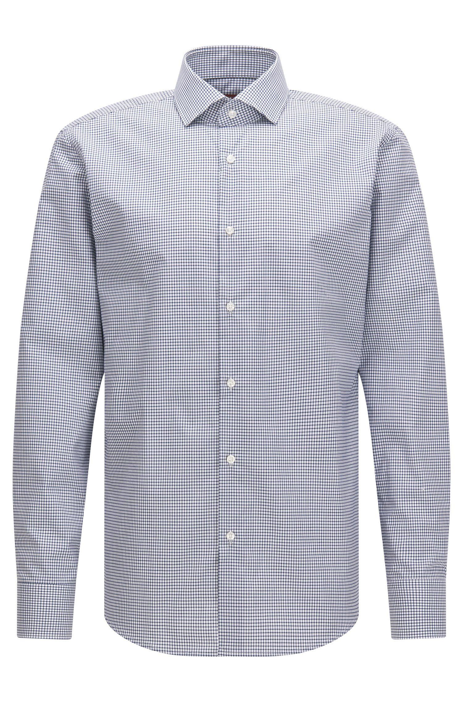 Camisa regular fit en algodón con cuadros Vichy