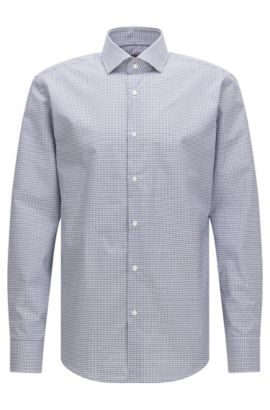 Regular-fit shirt in Vichy-check cotton, Dark Blue