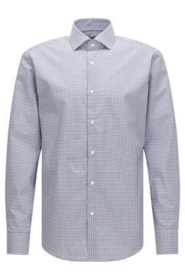 Chemise Regular Fit en coton, à motif vichy, Bleu foncé