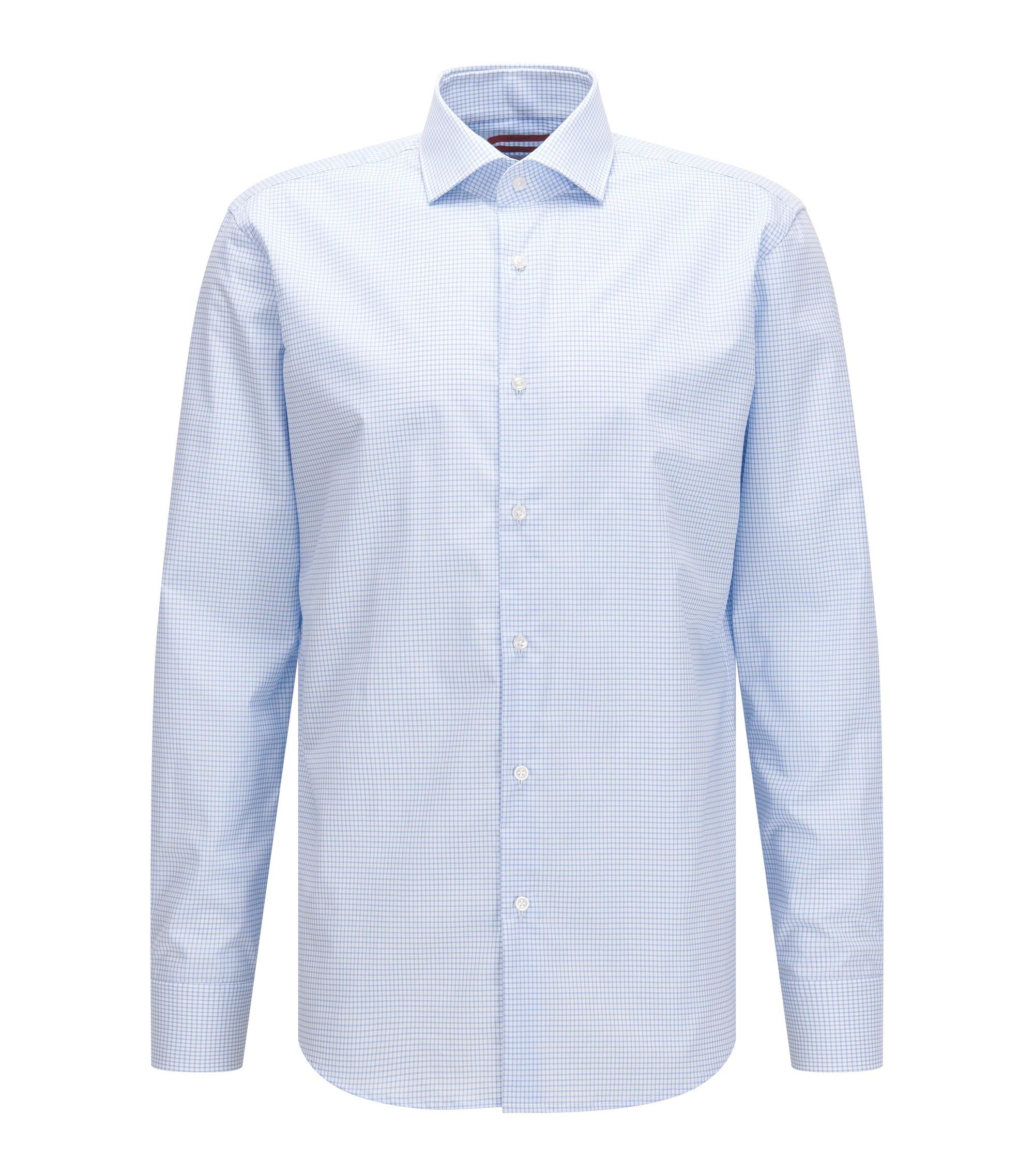 Regular-fit overhemd van katoen met vichyruiten, Lichtblauw