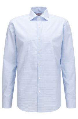 Regular-fit shirt in Vichy-check cotton, Light Blue
