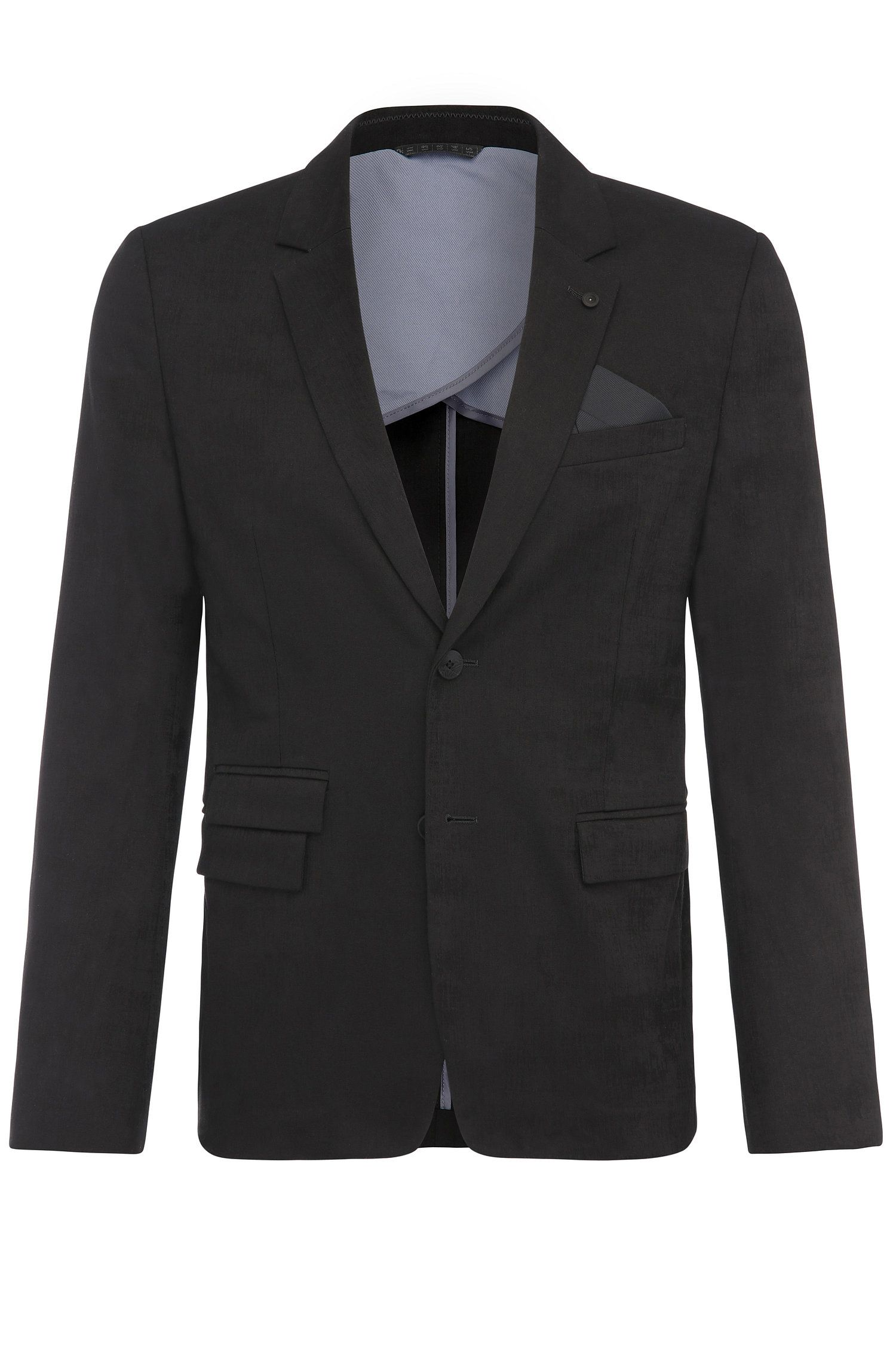 Slim-fit jacket in stretch-cotton jacquard