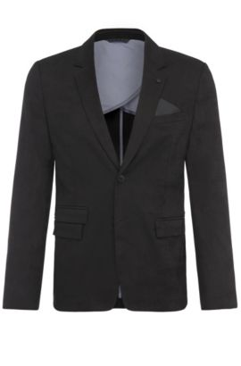 Slim-fit jacket in stretch-cotton jacquard , Black