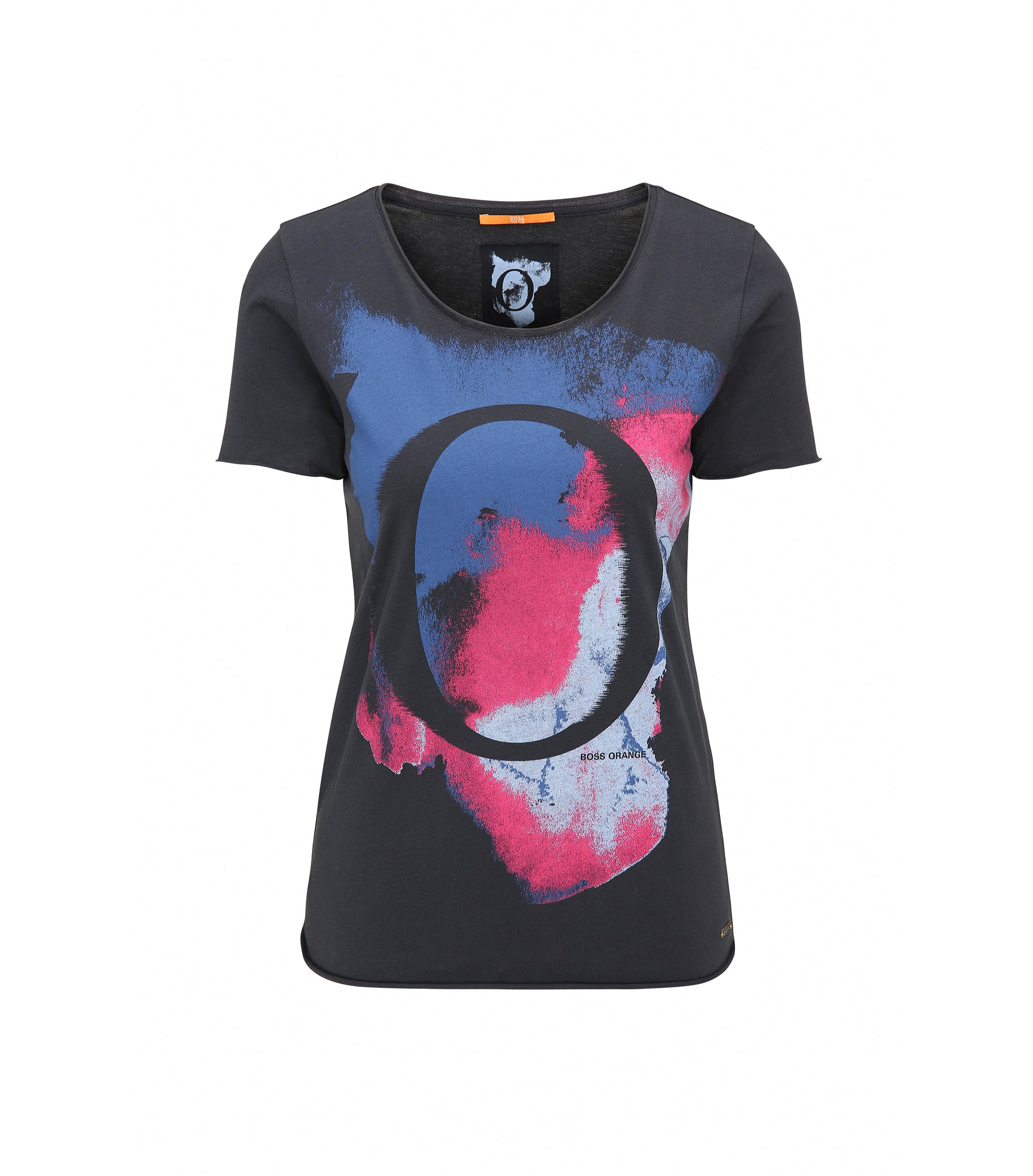 Slim-fit cotton T-shirt with watercolour print, Dark Blue