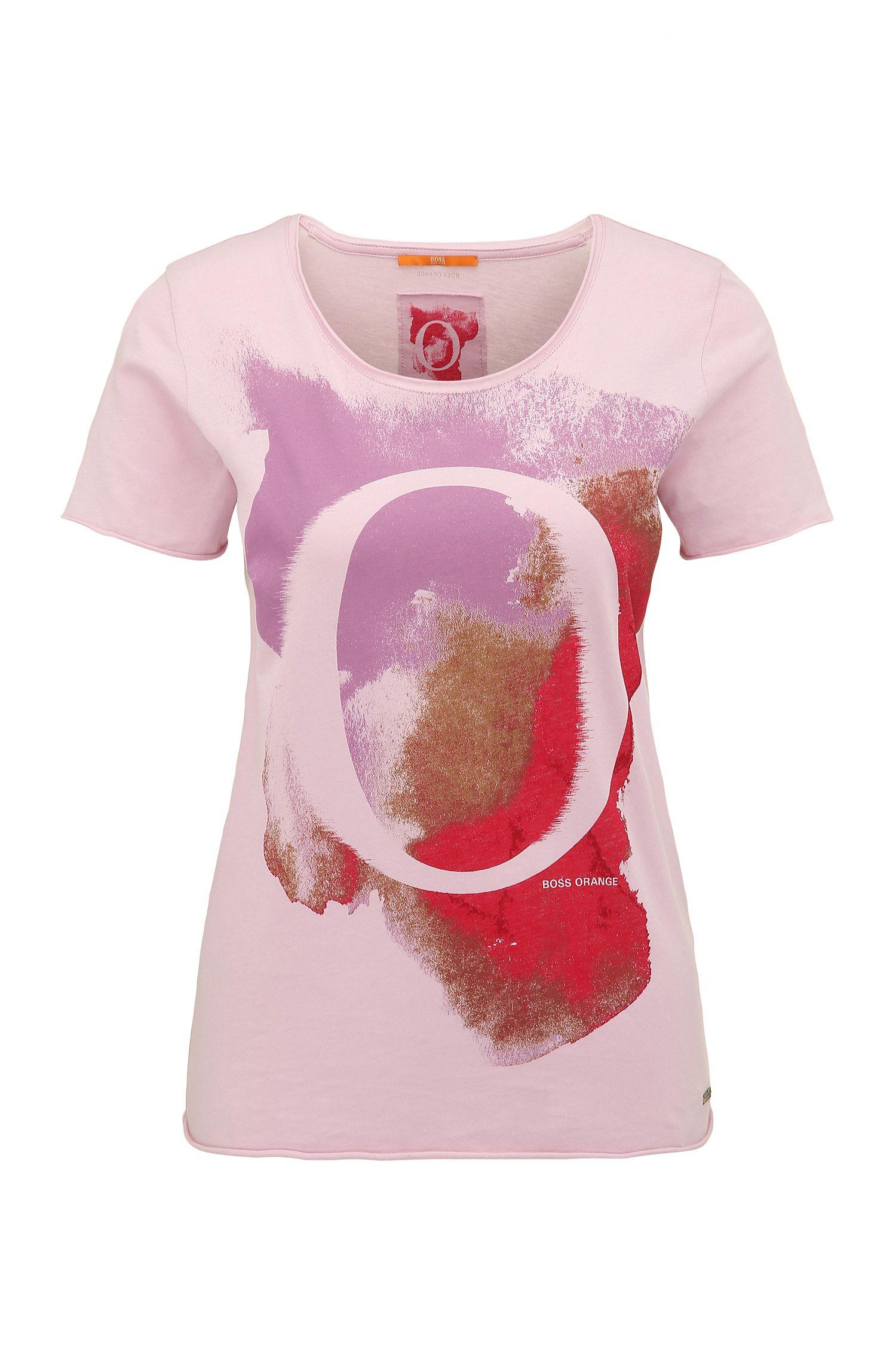 Slim-fit T-shirt van katoen met aquarelprint