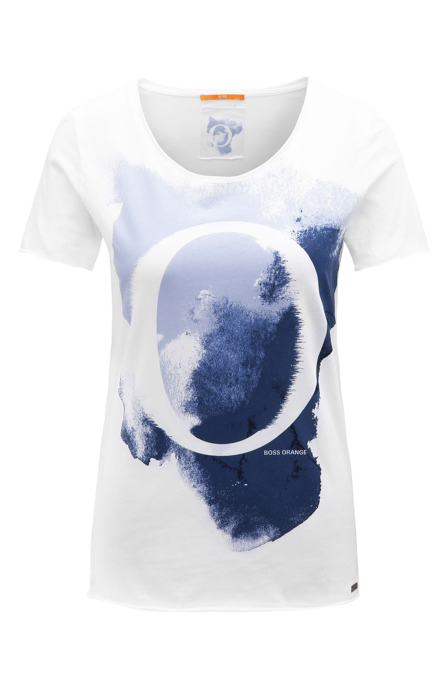 Slim-fit cotton T-shirt with watercolour print