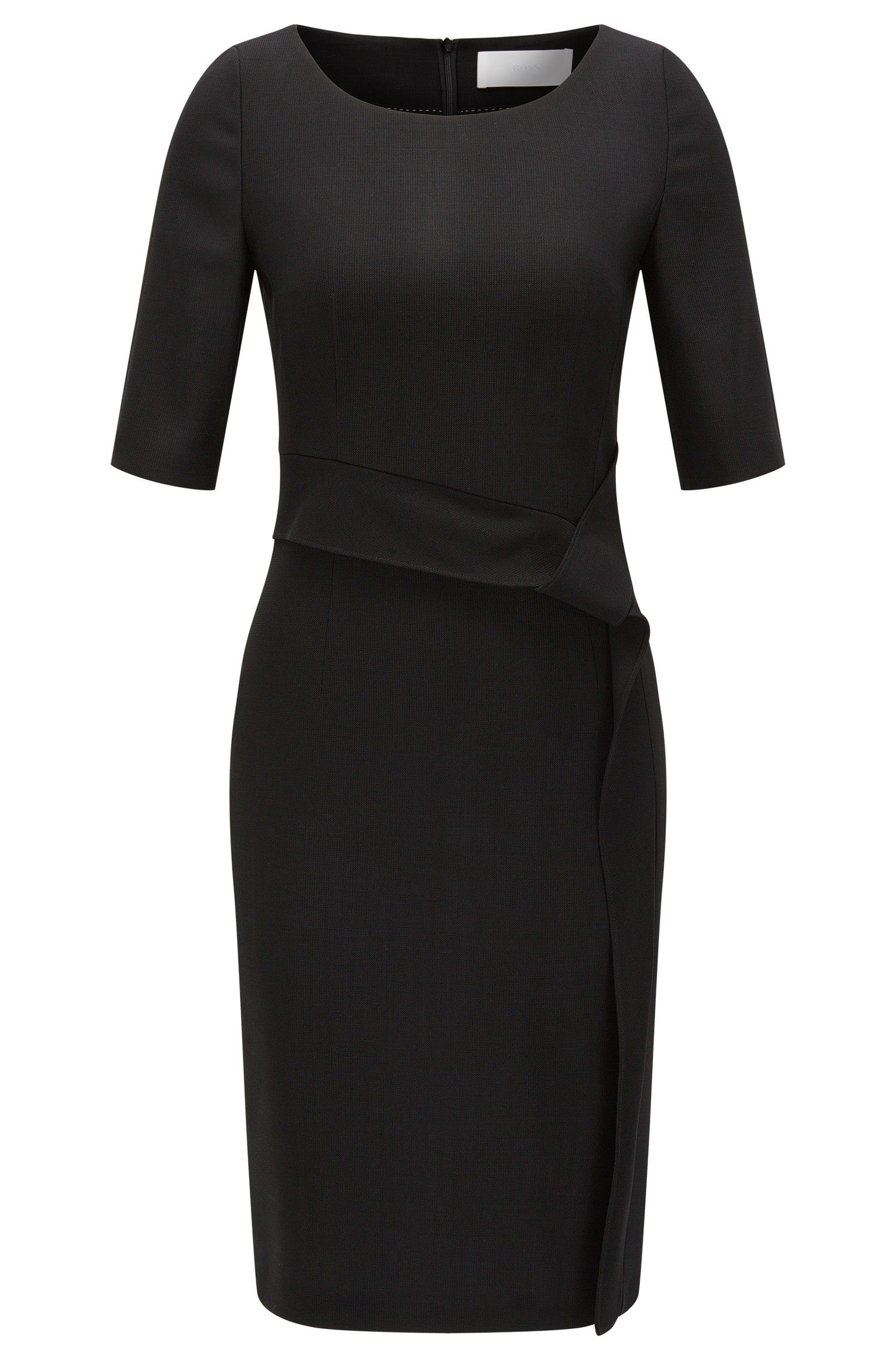 Stretch virgin wool shift dress with drape detail