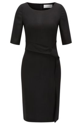 Stretch virgin wool shift dress with drape detail, Black