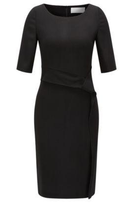 Vestido recto de lana elástica con detalle drapeado, Negro