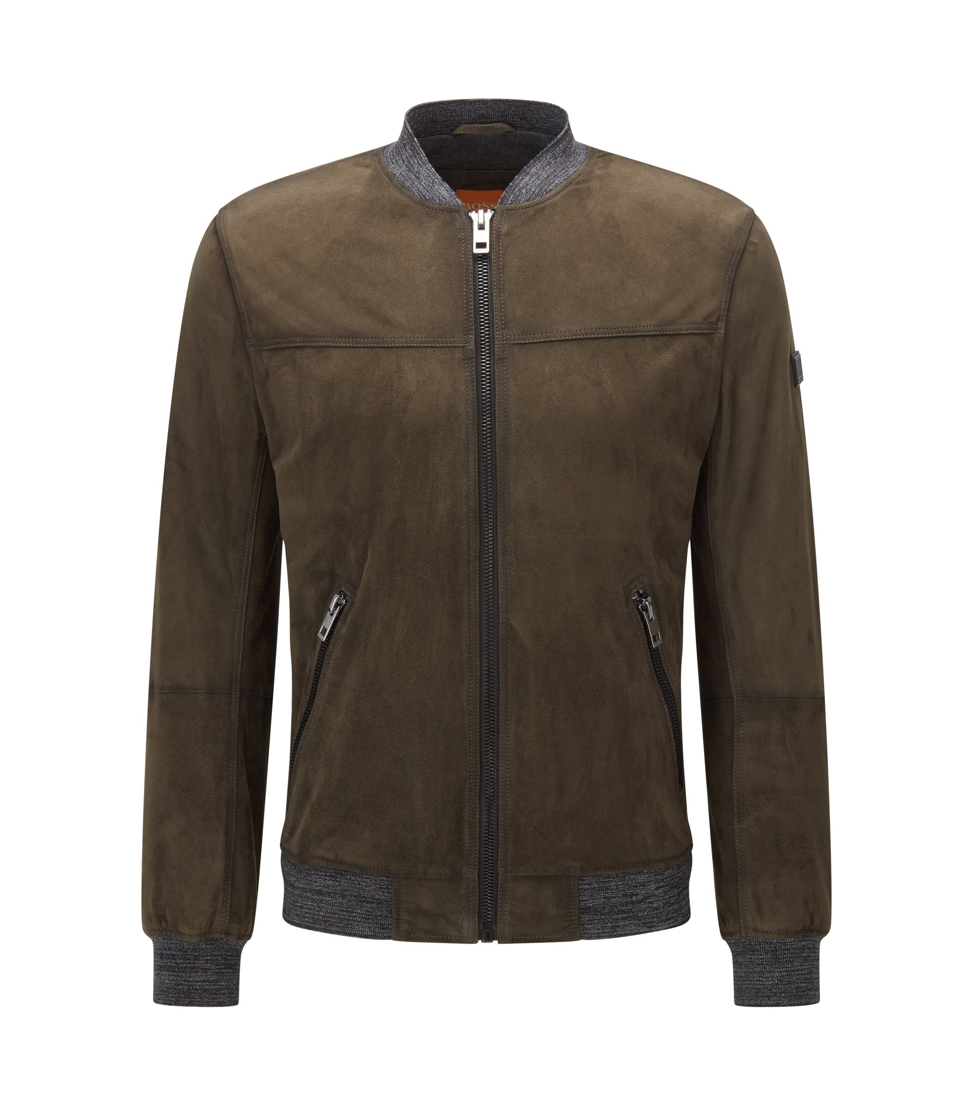 Slim-fit jacket in waxed suede , Dark Green