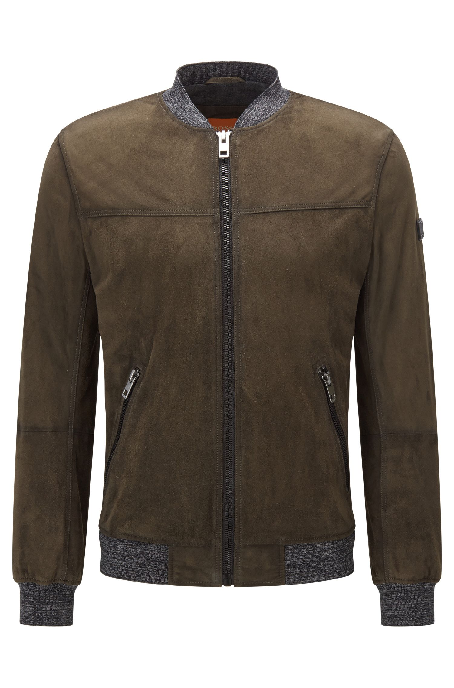 Slim-fit jacket in waxed suede