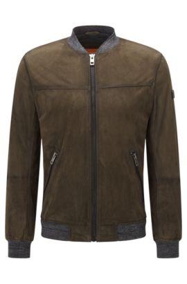 Slim-Fit Jacke aus gewachstem Veloursleder , Dunkelgrün