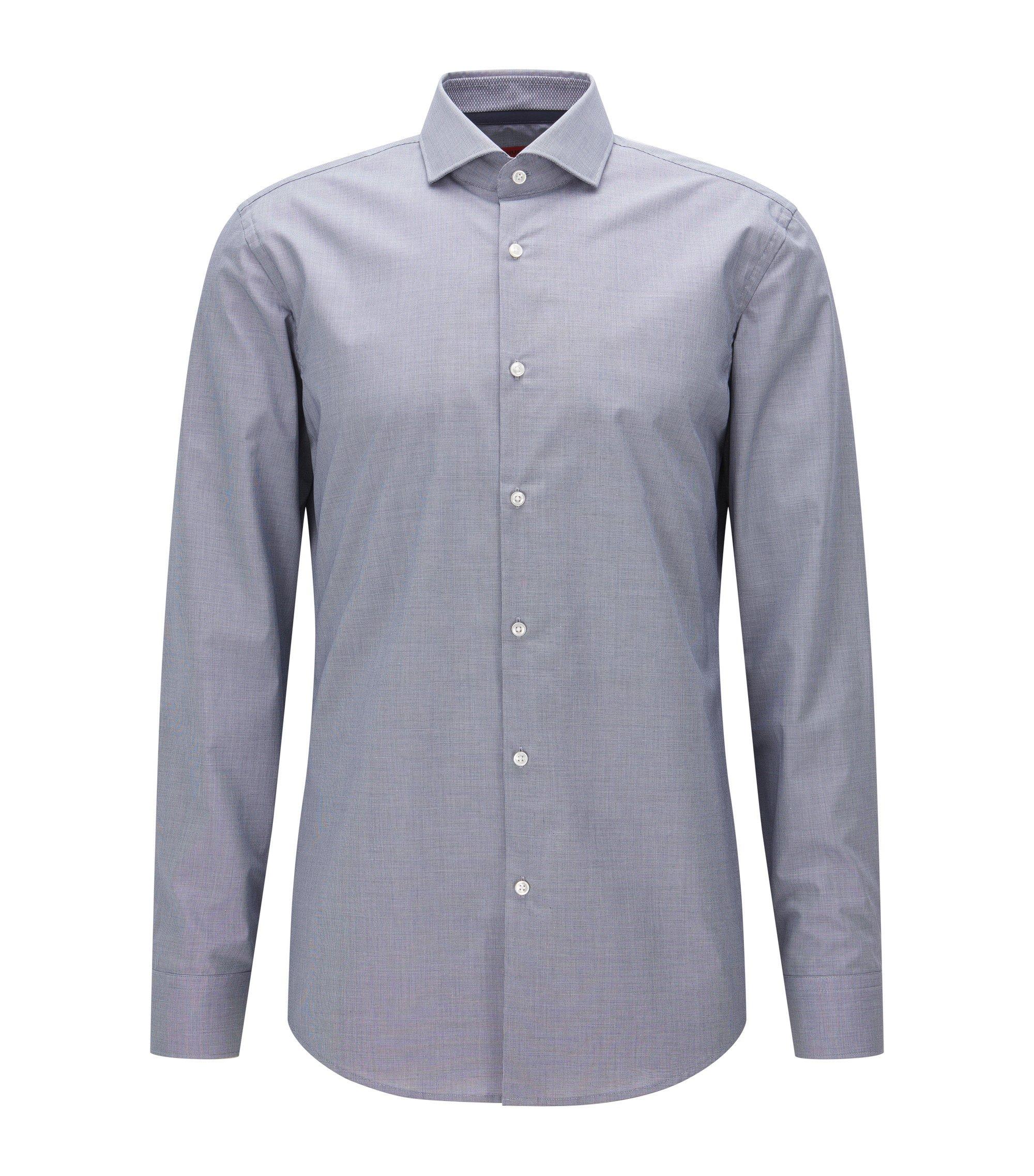 Slim-Fit Hemd aus Baumwolle mit Karo-Muster, Dunkelblau