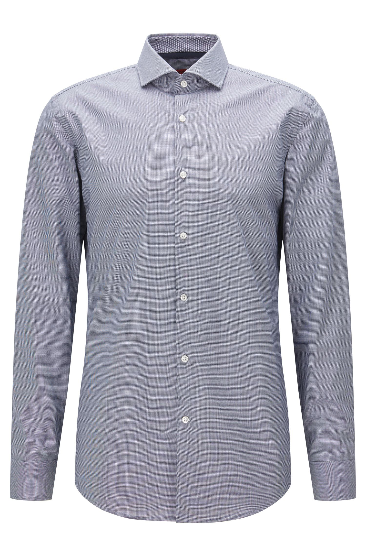 Slim-fit shirt in micro-check cotton