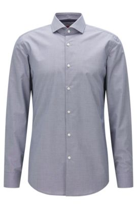 Slim-fit shirt in micro-check cotton, Dark Blue