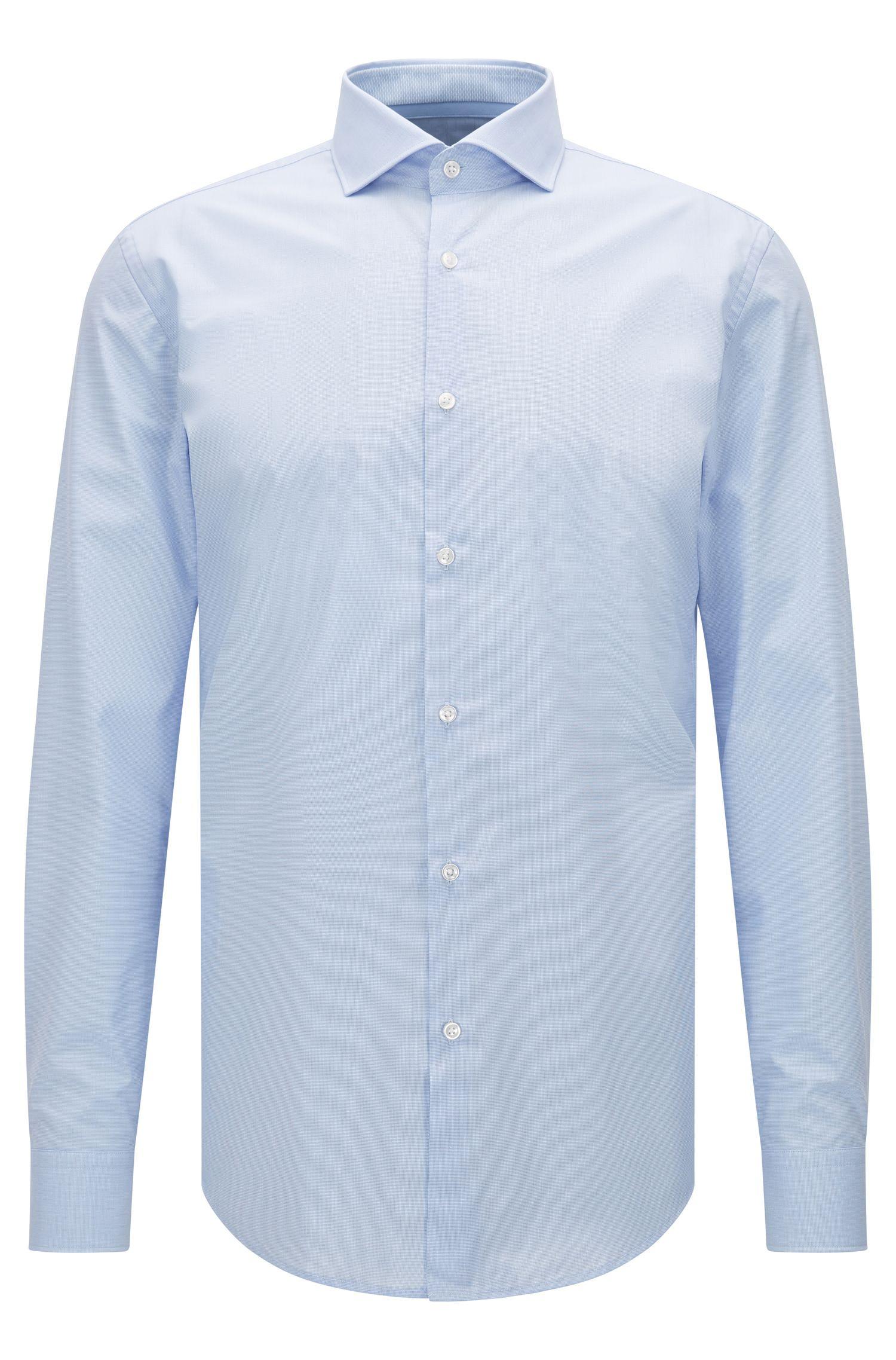 Camisa slim fit en algodón con microcuadros