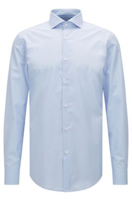 Slim-fit shirt in micro-check cotton, Light Blue