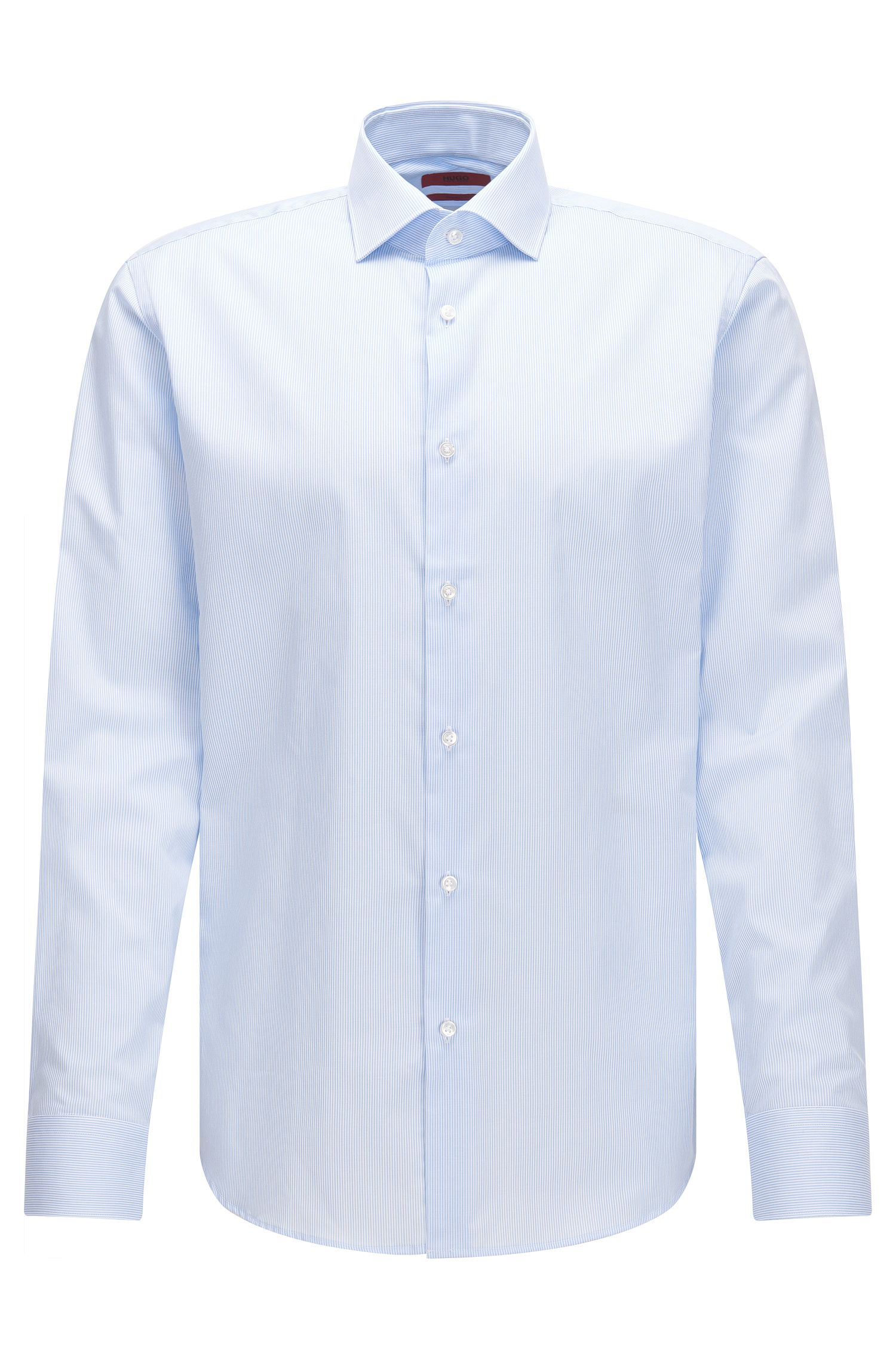Regular-fit cotton shirt with thin vertical stripes