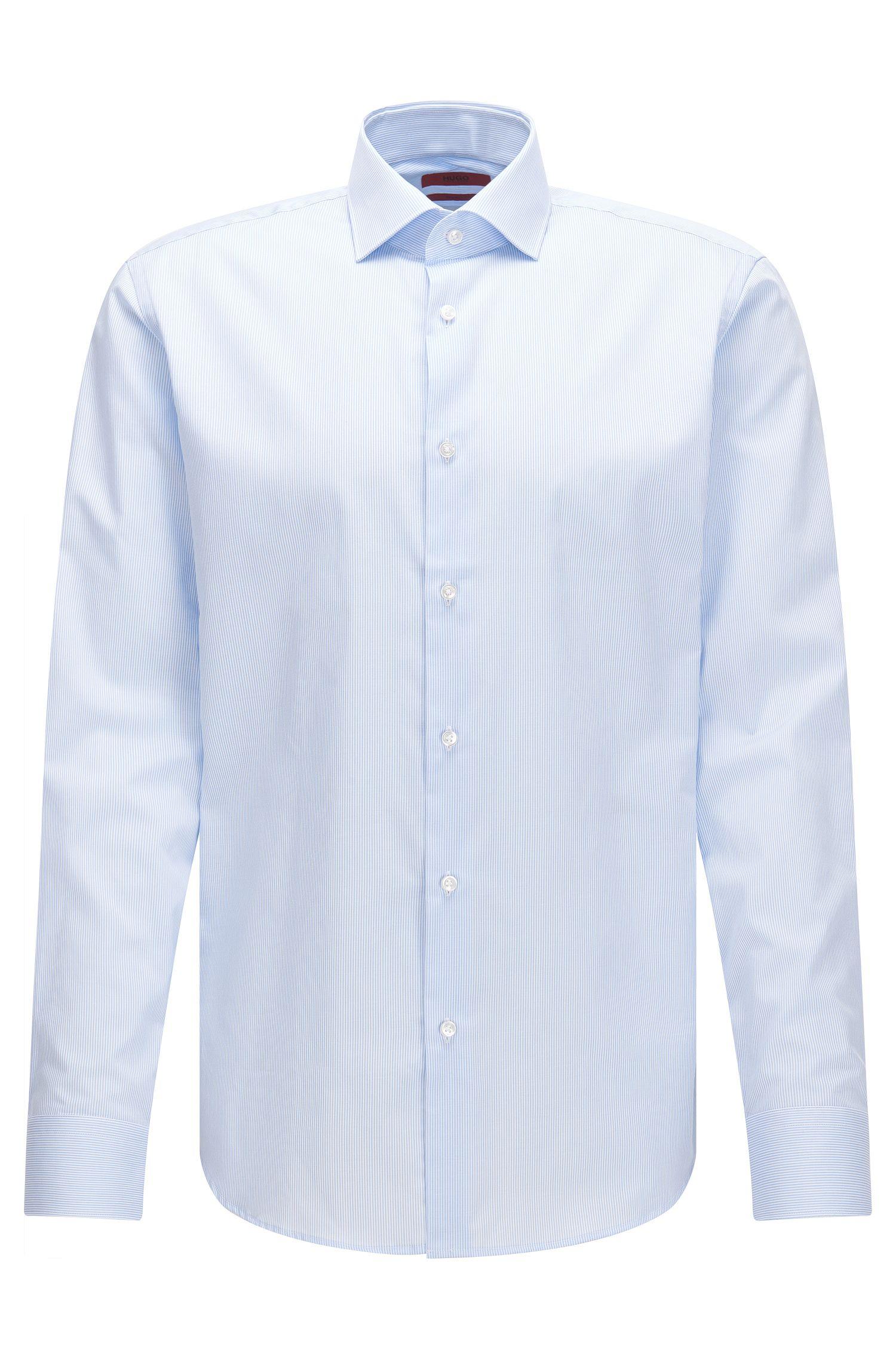 Camicia regular fit in cotone con sottili righe verticali