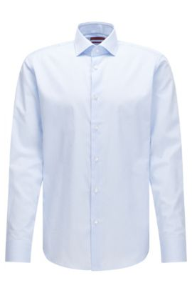 Regular-fit cotton shirt with thin vertical stripes, Light Blue