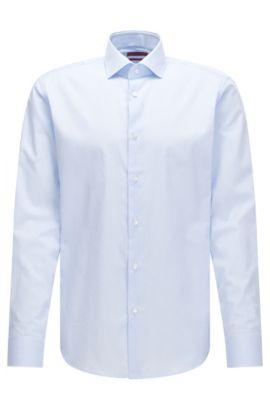 Camicia regular fit in cotone con sottili righe verticali, Celeste