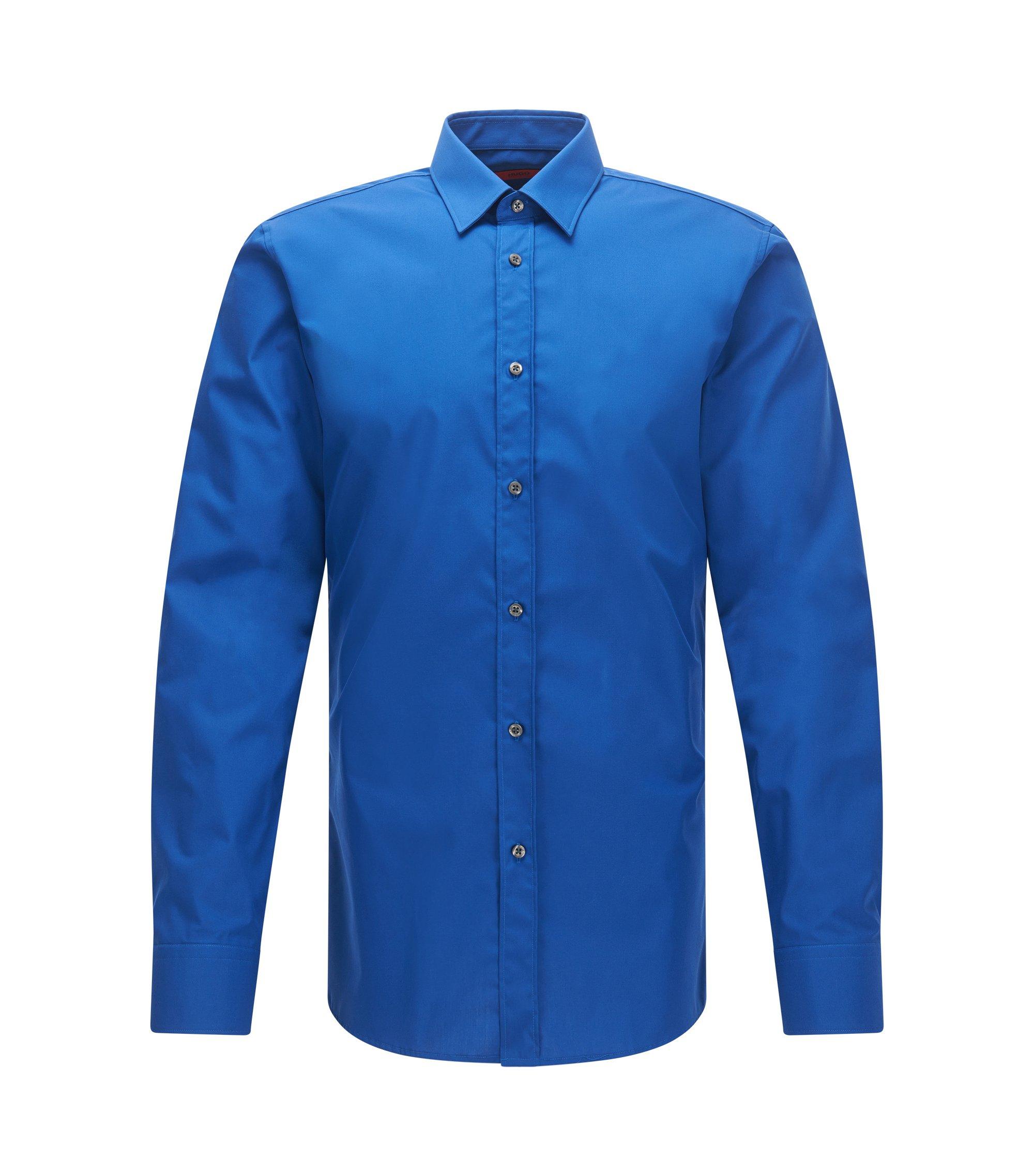 Camisa extra slim fit en algodón con cuello Kent, Azul