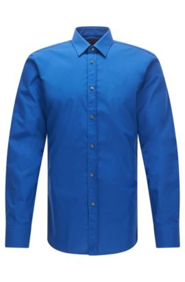 Camicia extra slim fit in cotone con colletto stile Kent, Celeste