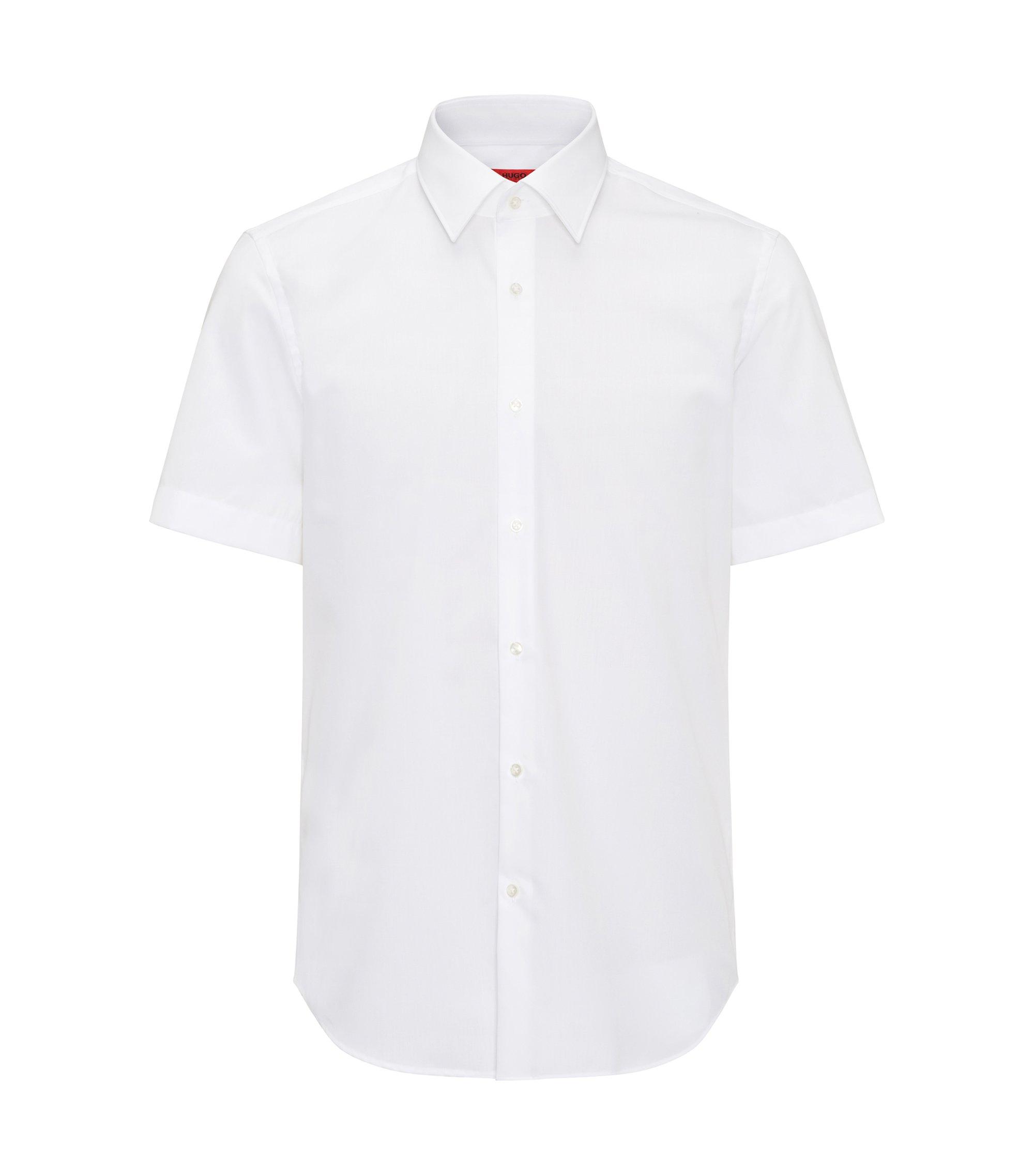 Camisa regular fit de manga corta en popelín de algodón, Blanco