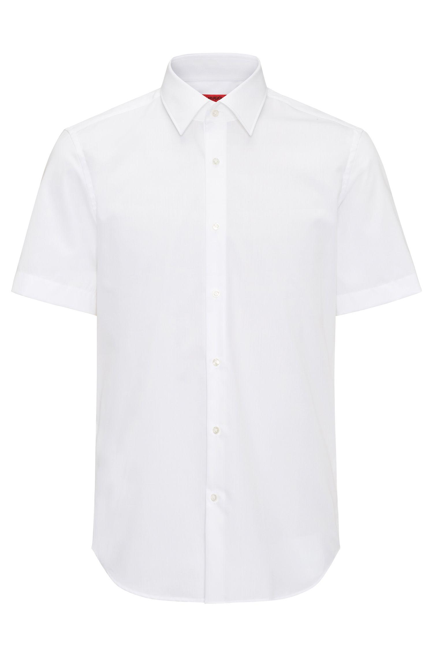 Regular-fit short-sleeved shirt in cotton poplin