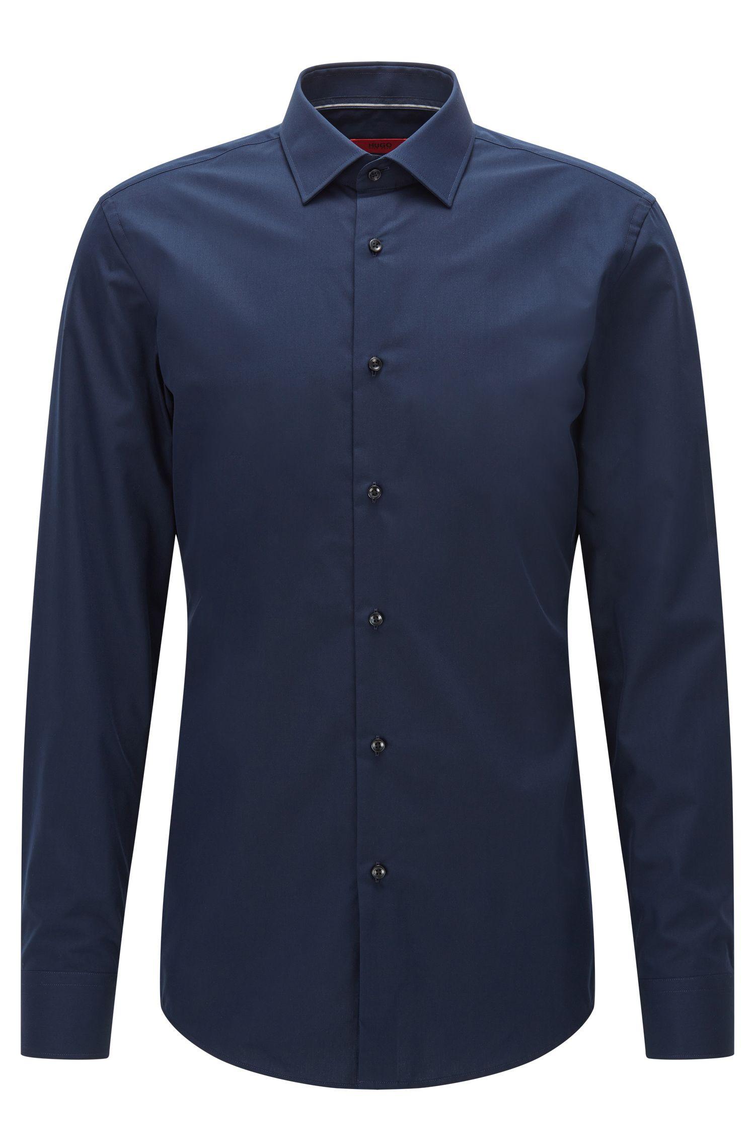 Slim-fit overhemd van gladde katoen