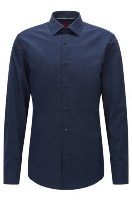 Slim-fit shirt in smooth cotton, Dark Blue