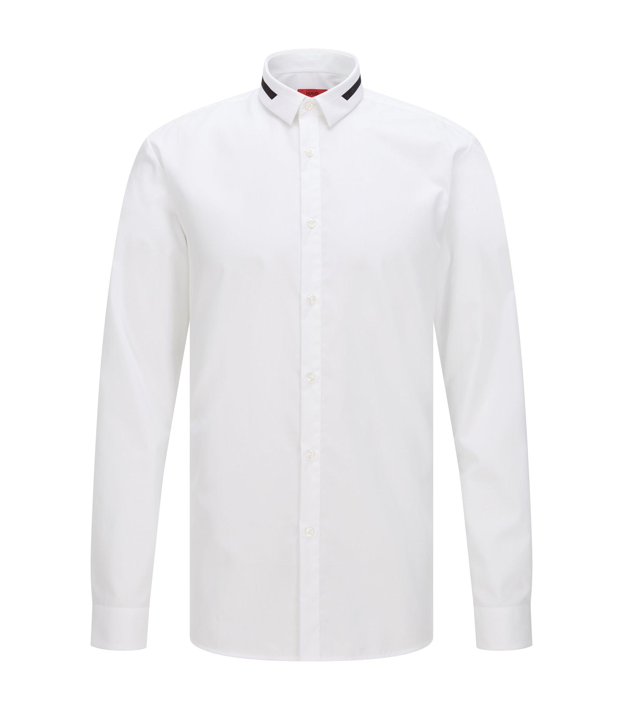 Extra Slim-Fit Hemd aus Baumwolle mit Kontrast-Details, Weiß