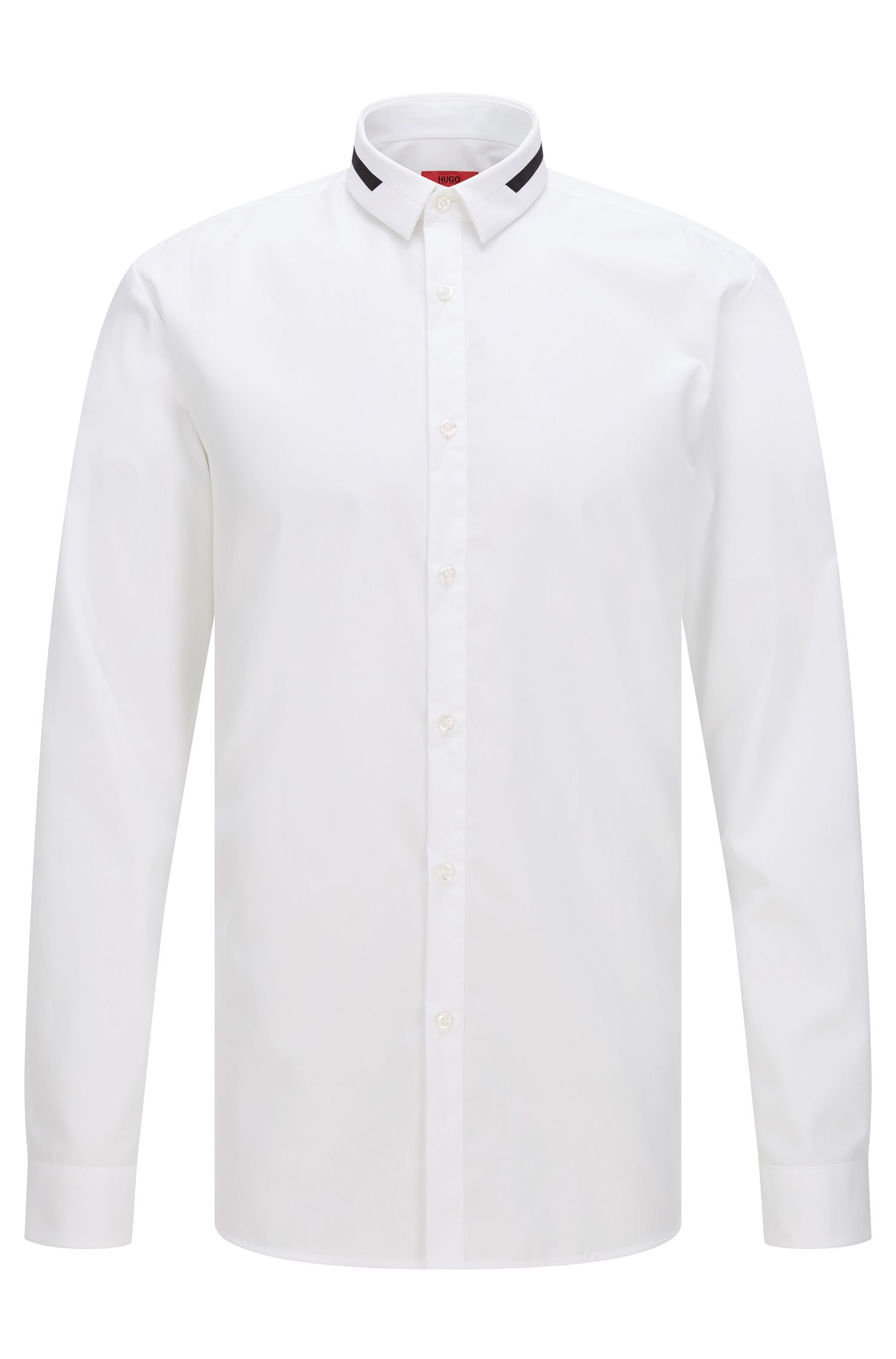 Camisa extra slim fit en algodón con detalles contrastados