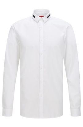 Chemise Extra Slim Fit en coton, à détails contrastants, Blanc