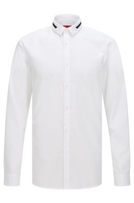 Extra-slim-fit shirt in cotton with contrast details, Open White