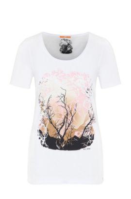 T-shirt Slim Fit en coton et modal, Blanc
