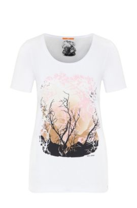 Slim-fit T-shirt van katoen en modal, Wit