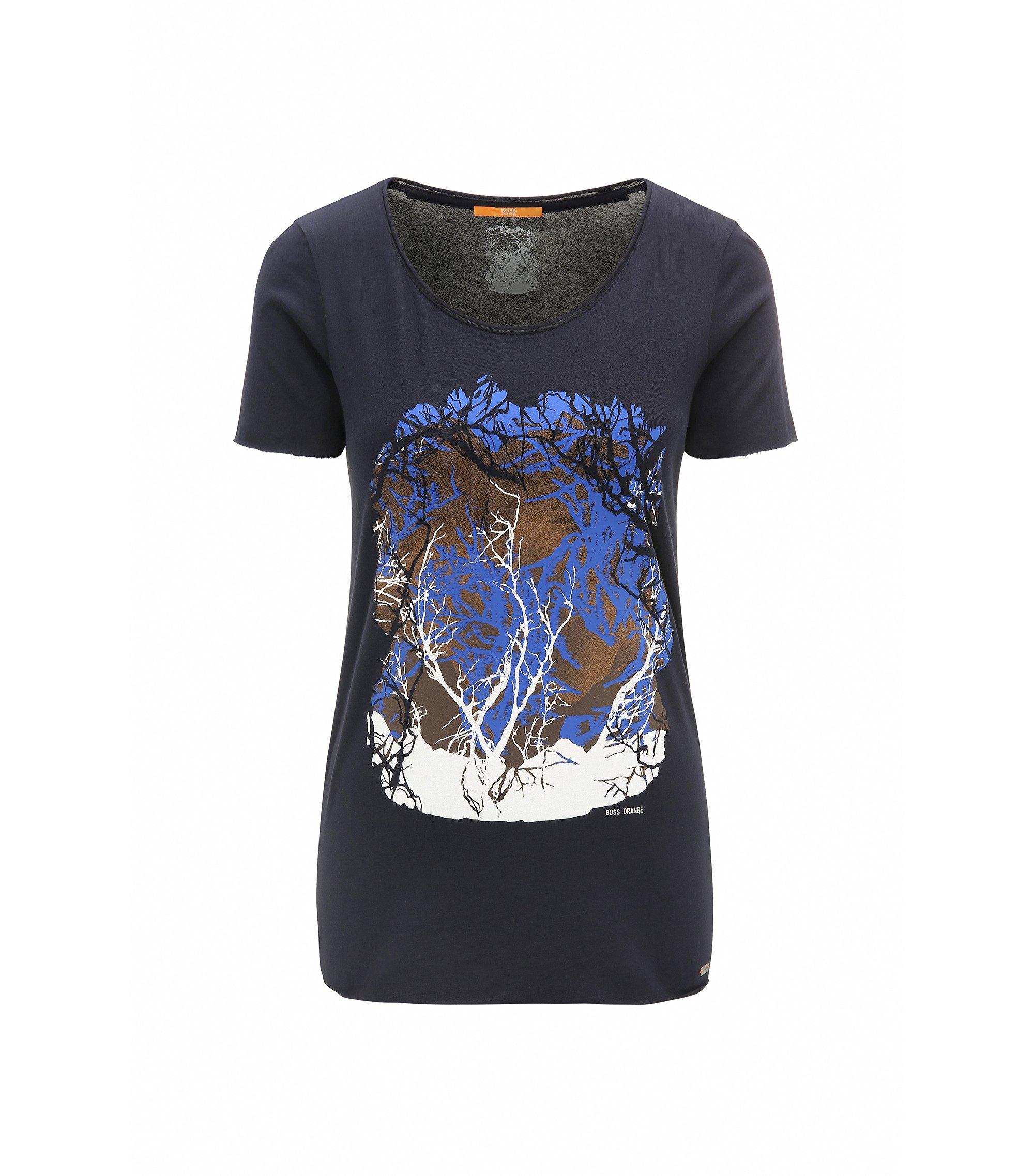 Slim-Fit T-Shirt aus Baumwoll-Mix mit Modal, Dunkelblau
