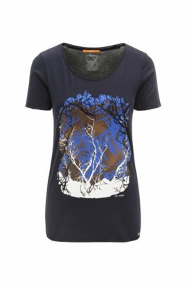 Slim-fit T-shirt in cotton and modal, Dark Blue