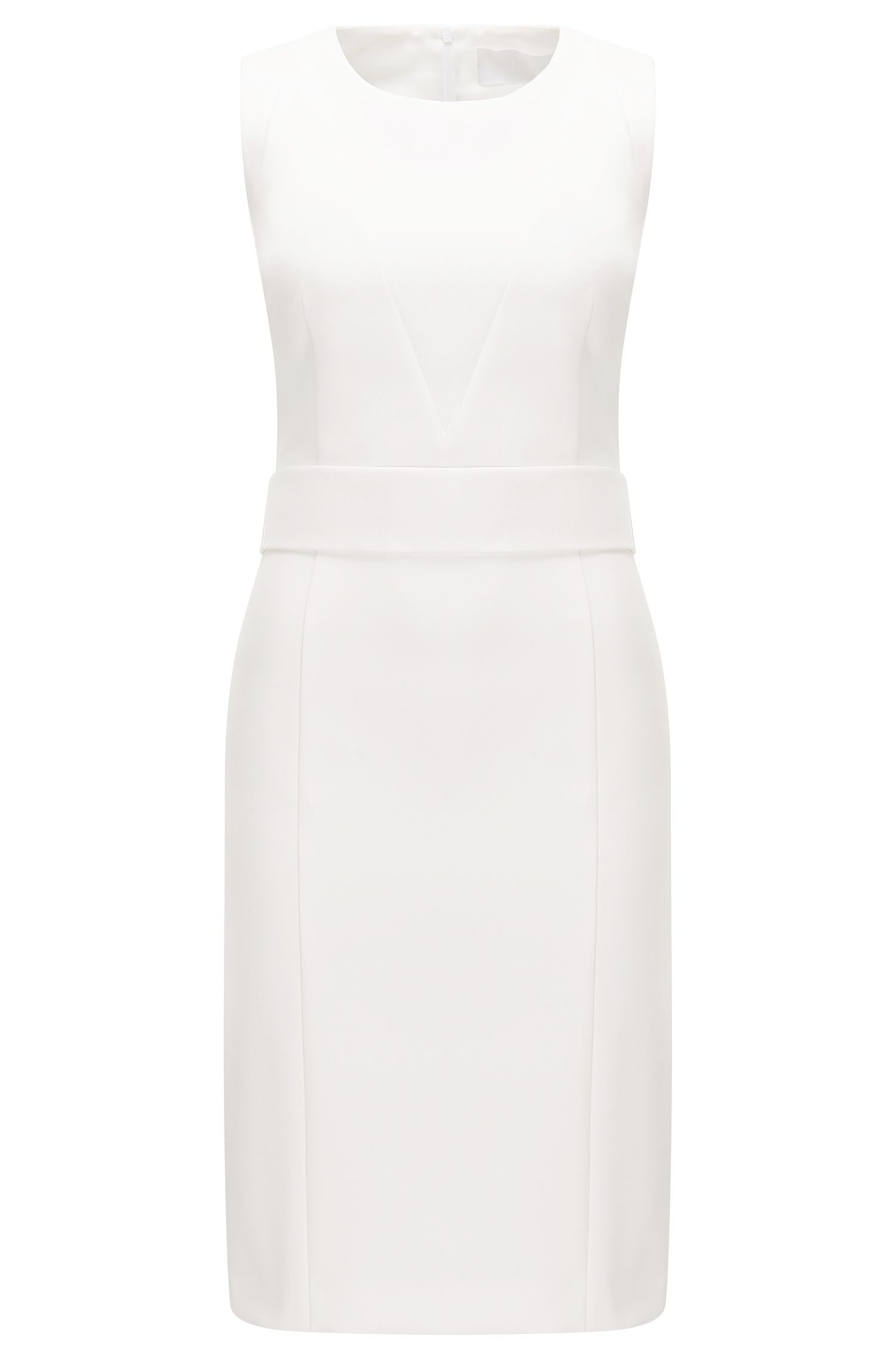 Structured shift dress in stretch fabric