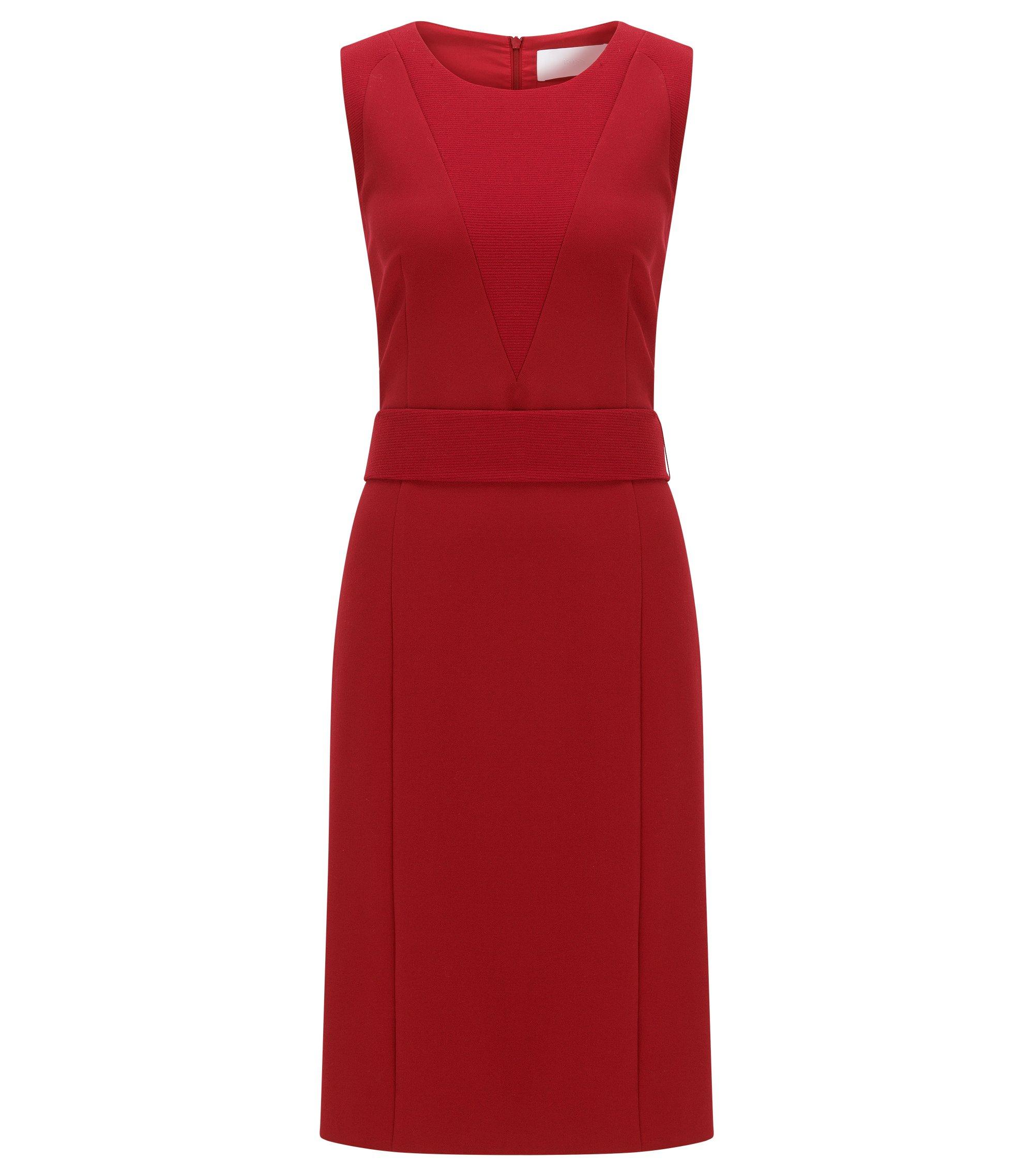 Vestido recto con textura en tejido elástico, Rojo
