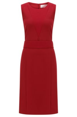 Structured shift dress in stretch fabric, Red