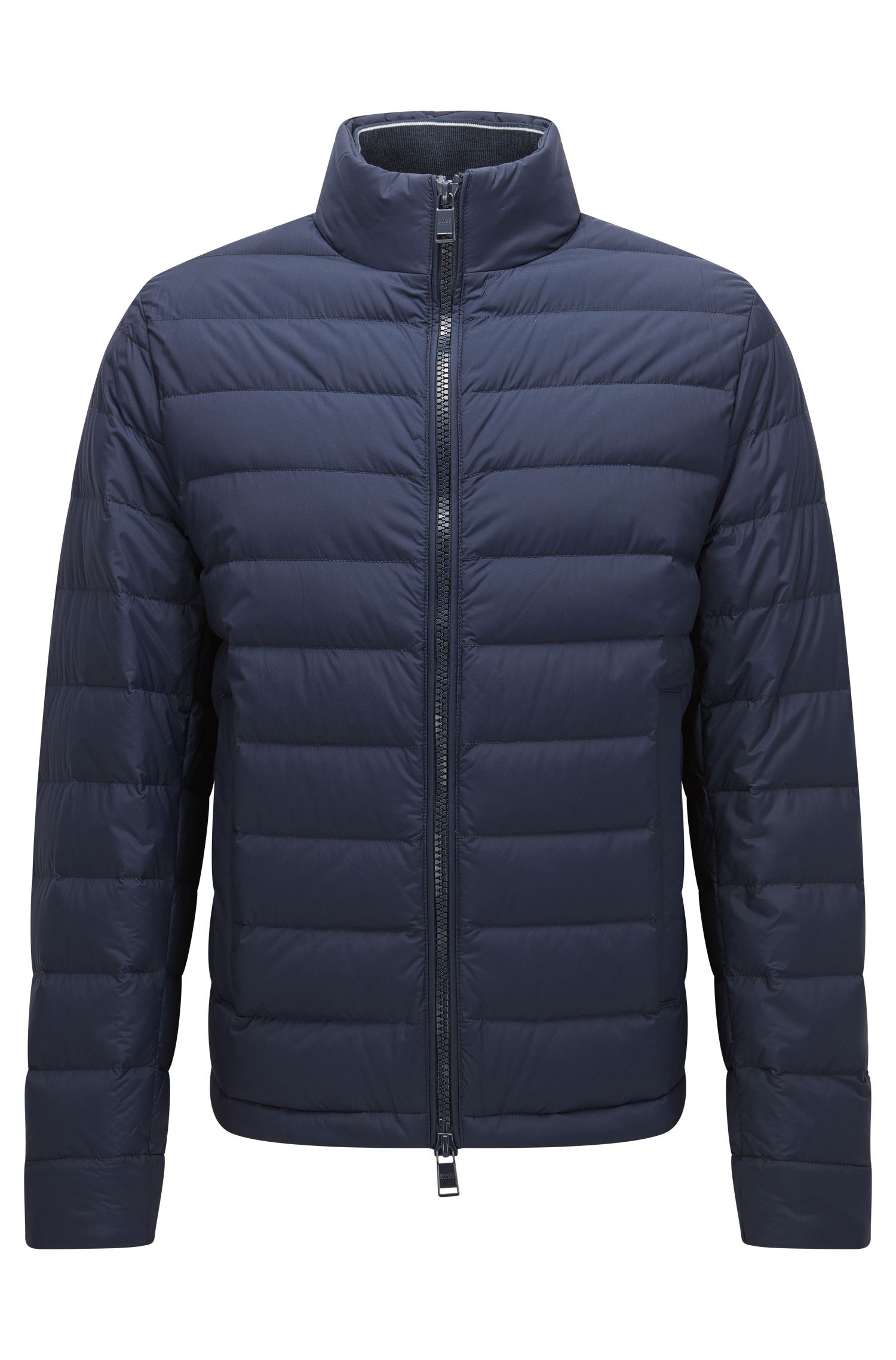 Regular-fit down jacket in technical stretch fabric