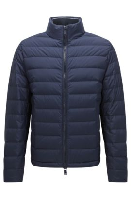 Regular-fit down jacket in technical stretch fabric, Dark Blue