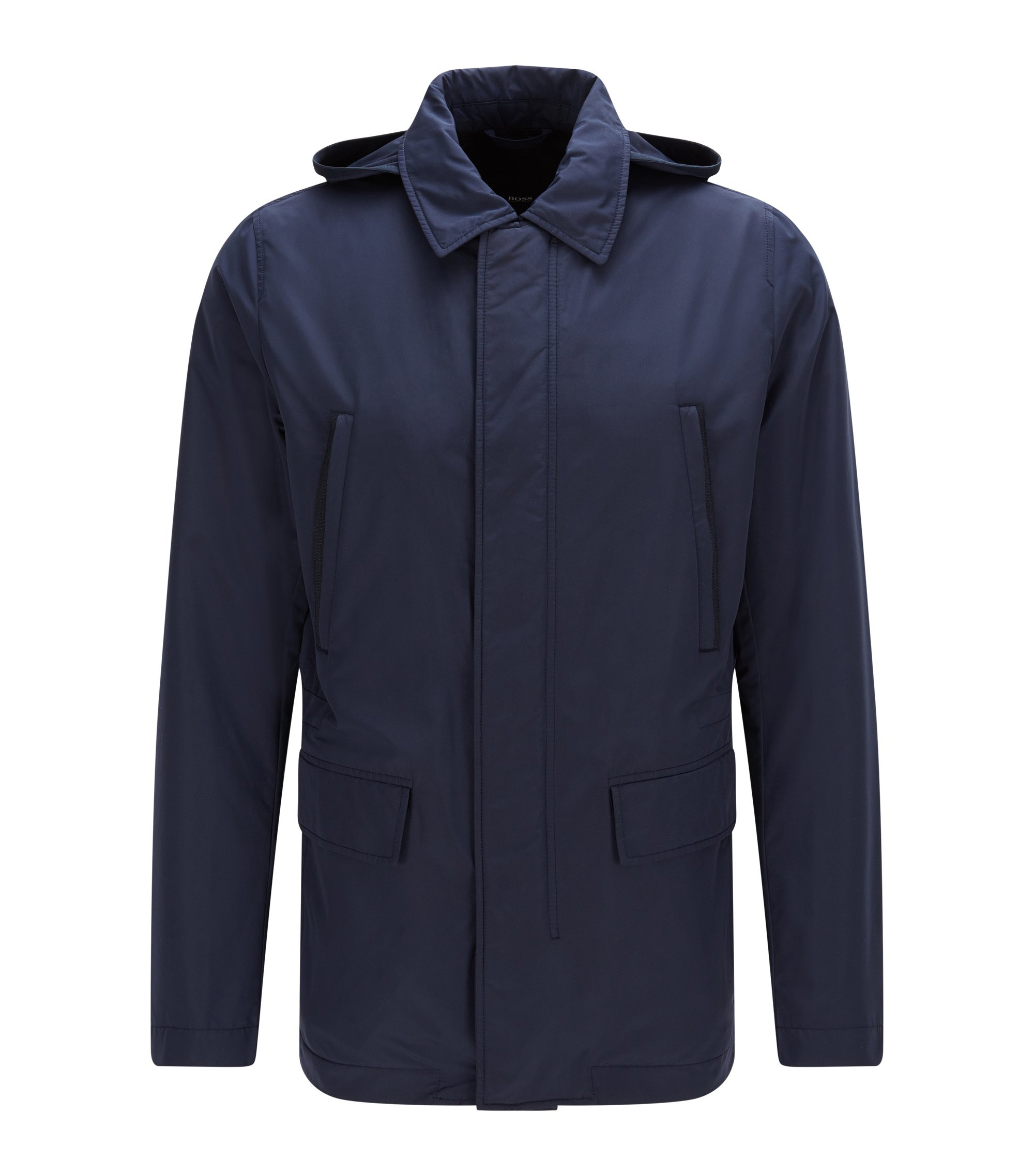 Regular-fit jacket in technical fabric with detachable hood, Dark Blue