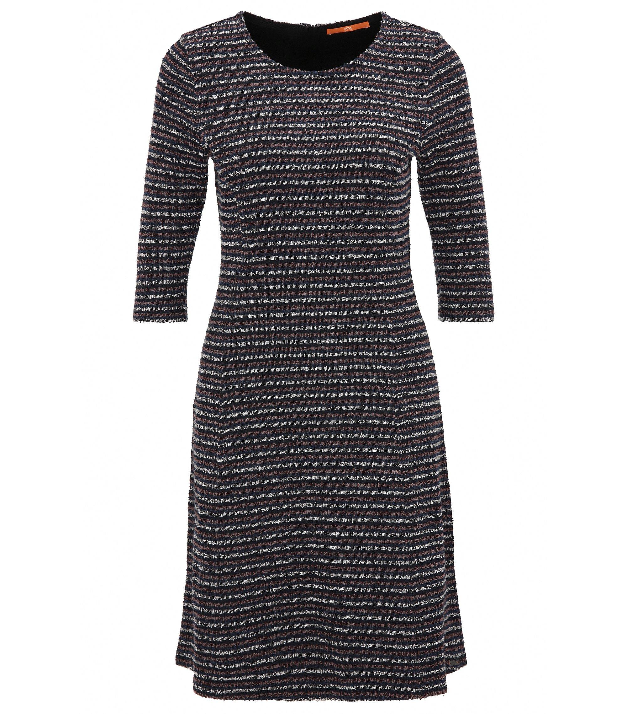 Kleid in A-Linie aus Bouclé-Jersey, Dunkelblau